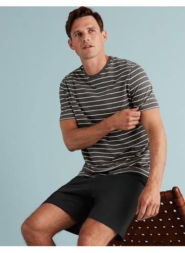 Marks & Spencer Saf Pamuklu Çizgili Pijama Takımı Gri
